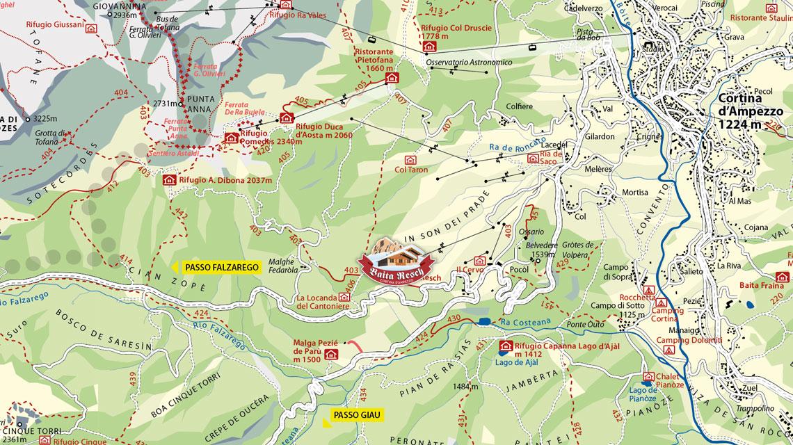 Cartina delle Tofane